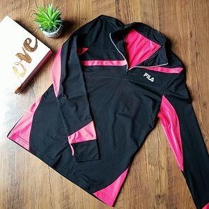 Fila Black & Bright Pink 1/4 Zip Running Jacket